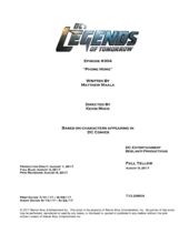 DC's Legends of Tomorrow script title page - Phone Home