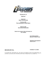 DC's Legends of Tomorrow script title page - Destiny