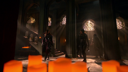 Nyssa and Talia al Ghul face each other