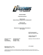 DC's Legends of Tomorrow script title page - The Chicago Way