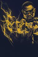 Black Lightning yellow monochrome poster