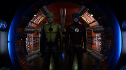 The Reverse-Flash and the Flash stand at the entrance to the Pipeline