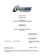 DC's Legends of Tomorrow script title page - River of Time