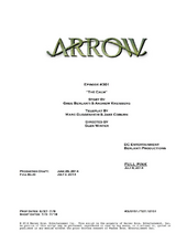 Arrow script title page - The Calm