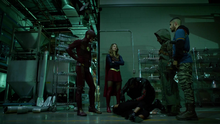 Ragman and Wild Dog with Flash and Supergirl