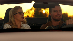 Oliver and Felicity drive off into the sunset