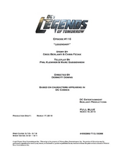 DC's Legends of Tomorrow script title page - Legendary