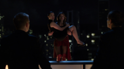 Kara catching and saving Lena