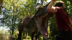 Dinosaur chases Ray Palmer