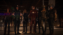 Speedy, Green Arrow, Black Canary, The Flash, Spartan, Hawkgirl and Carter Hall after facing Vandal Savage