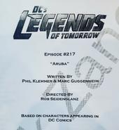 DC's Legends of Tomorrow script title page - Aruba