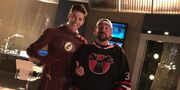Grant-Gustin-Kevin-Smith-on-the-set-of-The-Flash-Runaway-Dinosaur