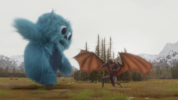 The Legends use the Totems of Zambesi to manifest as Beebo to take on Mallus