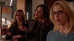 Dinah Laurel and Felicity celebrate their victory