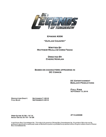 File:DC's Legends of Tomorrow script title page - Outlaw Country.png