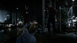 Barry Allen and Jay Garrick approach Patty Spivot