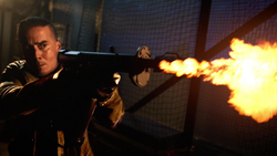 Diaz using a flamethrower