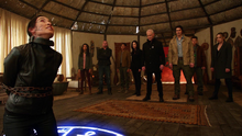 The Legends and Damien Darhk attempt to release Mallus