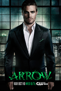 Arrow promo - Oliver in a suit above Starling City