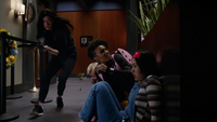Charlie and John escape the Custodians with Ava and Mona
