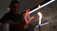 J'onn exposed at fire