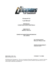 DC's Legends of Tomorrow script title page - Last Refuge