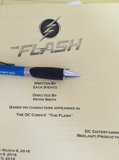 The Flash script title page - The Runaway Dinosaur