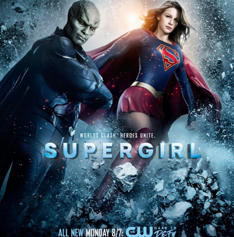 File:Supergirl season 2 poster - Worlds clash. Heroes unite..png