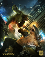 The Flash season 5 poster - King Shark vs. Gorilla Grodd