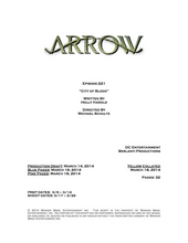 Arrow script title page - City of Blood