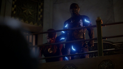 Zoom showing CCPD their defeated Flash