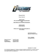 DC's Legends of Tomorrow script title page - Pilot, Part 2
