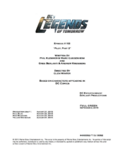 DC's Legends of Tomorrow script title page - Pilot, Part 2
