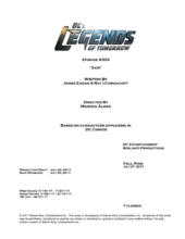 DC's Legends of Tomorrow script title page - Zari