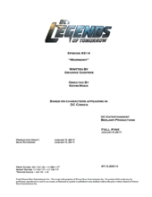 DC's Legends of Tomorrow script title page - Moonshot