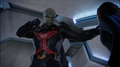 J'onn reveals true form while sparring.png