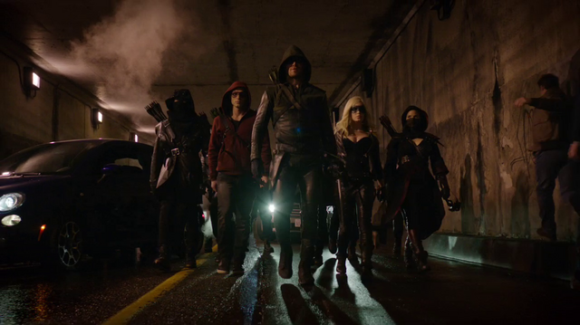 File:Roy Harper, Oliver Queen, Sara Lance, Nyssa al Ghul and the League of Assassins.png