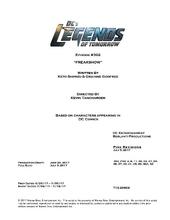 DC's Legends of Tomorrow script title page - Freakshow