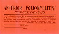 Cartaz a anunciar uma residência em quarentena devido à poliomielite