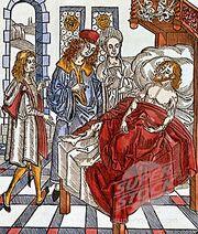 Hieronymus Brunschwig com o seu paciente e assistentes (1497)