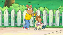 Arthur pushing DW in the stroller