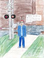 Carl a Teenager at a Railroad Crossing