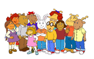 Arthur, Buster, DW, Brain, Muffy, Francine, Fern, Sue Ellen, Prunella, George, and Binky (PNG)