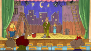 Backs of Alex, Ladonna, and Fern with Binky, Mr. Ratburn, and Maria Pappas showing (Binky Can't Always Get What He Wants)