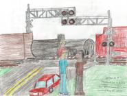 Demetre and Carl at Railroad CrossingA