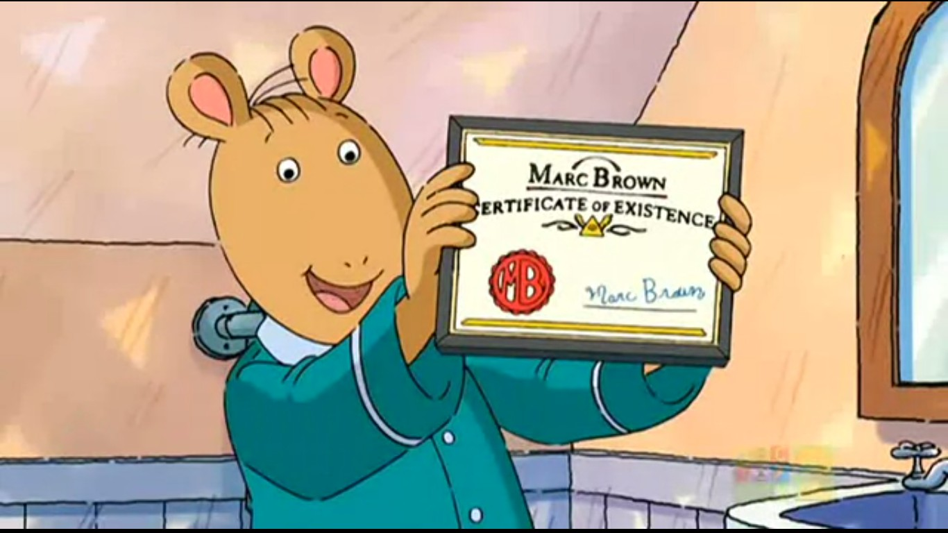 Image Marc Brown Certificate Of Existenceg Arthur Wiki