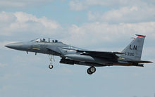 McDonnell Douglas F-15 arrives RIAT Fairford 10thJuly2014 arp