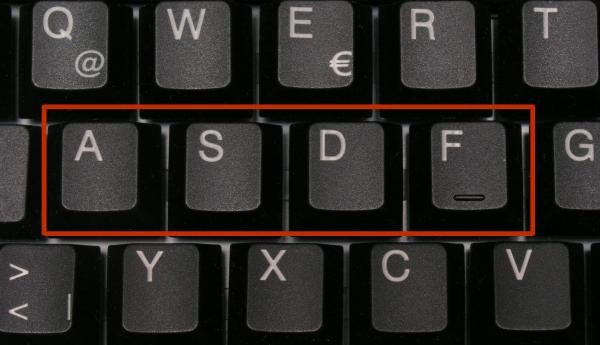 Computer keyboard with 'asdf' highlighted