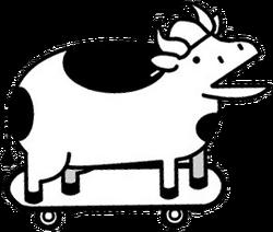 Skateborad Cow