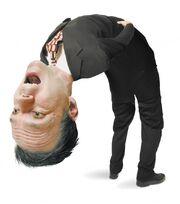 Man bent backwards with big head
